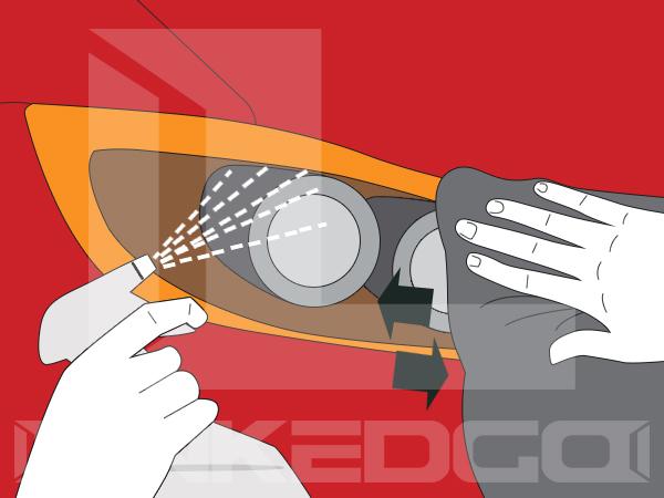 Cleaning headlight tint film